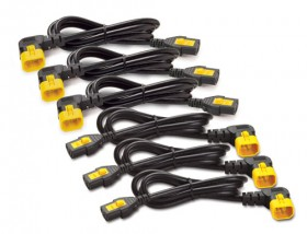 Power Cord Kit (6 ps), Locking, IEC 320 C13 to IEC 320 C14 (90 Degree), 10A, 208/230V, 1.2m, 3 Left + 3 Right (repl. AP8704R)