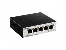 D-Link DGS-1100-05/B1A, L2 Smart Switch with 5 10/100/1000Base-T ports.8K Mac address, 802.3x Flow Control, Port Trunking, Port Mirroring, IGMP Snooping, 802.1Q VLAN up to 32, VID range 1-4094, Loopb