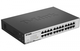 D-Link DGS-1100-24/ME/B2A, L2 Smart Switch with 24 10/100/1000Base-T ports.8K Mac address, 802.3x Flow Control, 802.3ad Link Aggregation, Port Mirroring, 128 of 802.1Q VLAN, VID range 1-4094, Loopbac