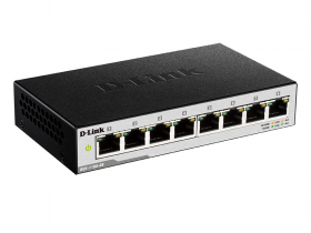 D-Link DGS-1100-08/B1A, L2 Smart Switch with 8 10/100/1000Base-T ports.8K Mac address, 802.3x Flow Control, Port Trunking, Port Mirroring, IGMP Snooping, 32 of 802.1Q VLAN, VID range 1-4094, Loopback