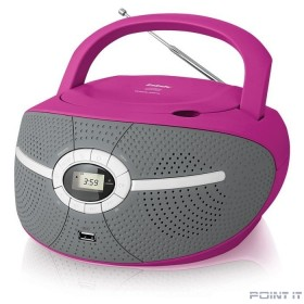 Аудиомагнитола CD/MP3 BBK BX195U (P) pink (2Вт, CD/MP3, USB, FM, AUX, Выход на наушники) (BX195U (BX195U (P))